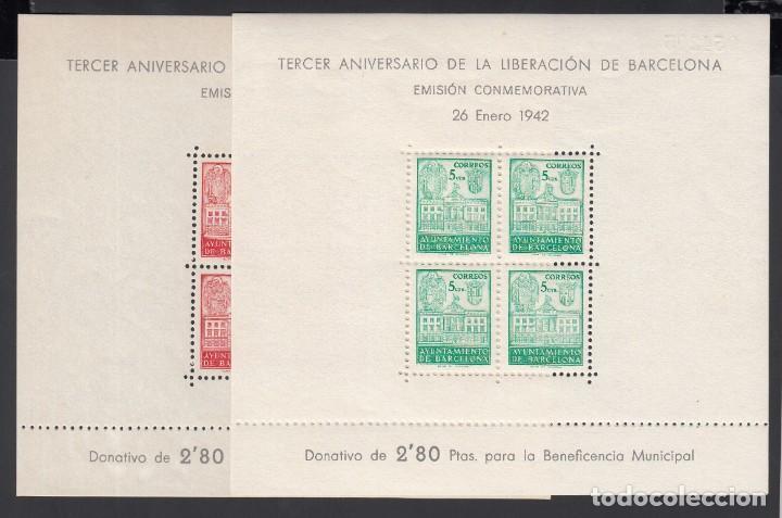 BARCELONA,1942 EDIFIL Nº 38 / 39 /**/, III ANIVERSARIO DE LA LIBERACIÓN DE BARCELONA, SIN FIJASELLOS (Sellos - España - Estado Español - De 1.936 a 1.949 - Nuevos)