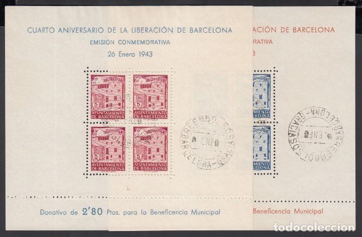 BARCELONA, 1943 EDIFIL Nº 47 / 48, IV ANIVERSARIO DE LA LIBERACIÓN DE BARCELONA (Sellos - España - Estado Español - De 1.936 a 1.949 - Usados)
