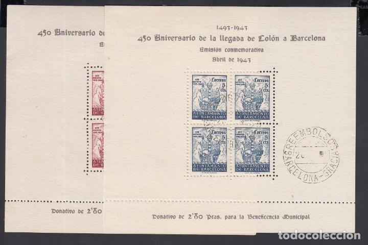 BARCELONA,1943 EDIFIL Nº 51 / 52, 450º ANIVERSARIO DE LA LLEGADA DE COLÓN A BARCELONA (Sellos - España - Estado Español - De 1.936 a 1.949 - Usados)