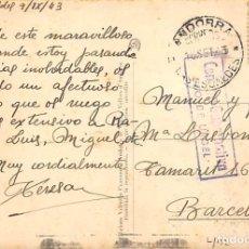 Sellos: CENSURA GUBERNATIVA ANDORRA. 1943. TARJETA POSTAL CON SELLO Nº 36. MARCA CENSURA SEO DE URGEL. Lote 222580677