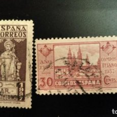 Sellos: SELLOS ESPAÑA 833 Y 834. AÑO JUBILAR COMPOSTELANO. 1937. USADOS.. Lote 222587542
