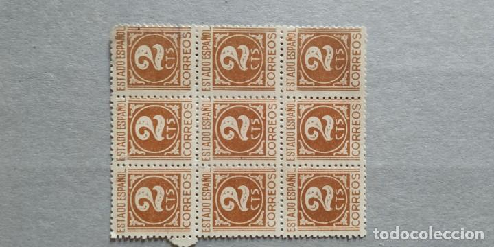 Sellos: Bloque 9 sellos. Estado Español. 2 ctmos. - Foto 2 - 223707632