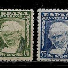 Francobolli: II CENTENARIO DEL NACIMIENTO DE GOYA - EDIFIL 1005-072 1946 - CON SELLO 1007 DE DIFERENTE COLOR. Lote 224372655