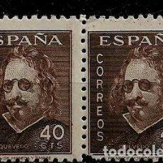 Francobolli: ESTADO ESPAÑOL - III CENTENARIO DE LA MUERTE DE QUEVEDO - EDIFIL 989 - 1945 - NUEVO - BLOQUE DE DOS. Lote 224374936