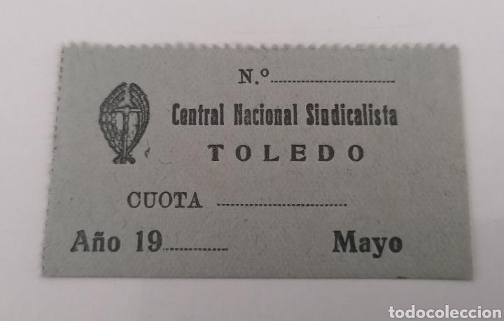 TOLEDO. CENTRAL NACIONAL SINDICALISTA. CUOTA MAYO AÑOS 40. SIN USO. (Sellos - España - Estado Español - De 1.936 a 1.949 - Usados)