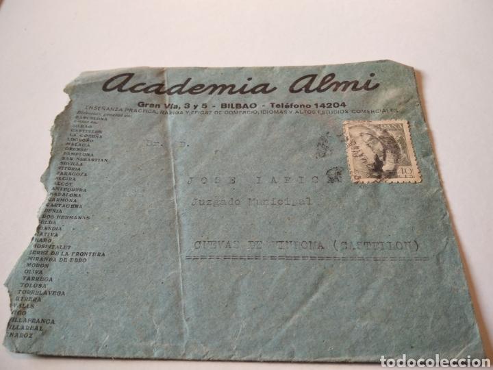 SOBRE ACADEMIA ALMI BILBAO (Sellos - España - Estado Español - De 1.936 a 1.949 - Cartas)