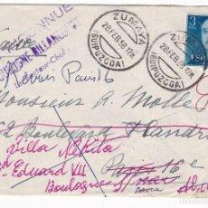 Timbres: F29-10-CARTA ZUMAYA (GUIPUZCOA) -PARIS.1958. VARIAS REEXPEDICIONES Y MARCAS. Lote 227490545
