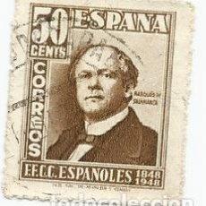 Sellos: SELLO USADO DE ESPAÑA DE 1948- CENTENARIO DEL FERROCARRIL- EDIFIL 1037- VALOR 50 CENTIMOS. Lote 228944970