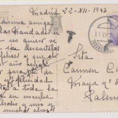 Sellos: POSTAL. MADRID A PALENCIA. 1943. MARCA DE TASA. Lote 231760700