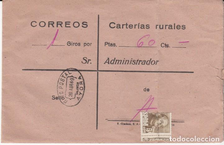 CARTA GIRO POSTAL DE CORREOS - CARTERIAS RURALES - AYORA - VALENCIA 1949 (Sellos - España - Estado Español - De 1.936 a 1.949 - Cartas)
