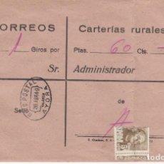 Sellos: CARTA GIRO POSTAL DE CORREOS - CARTERIAS RURALES - AYORA - VALENCIA 1949. Lote 232008825