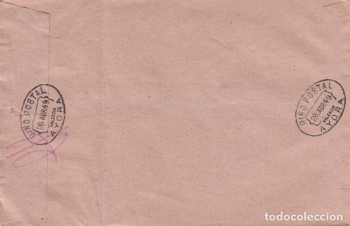 Sellos: CARTA GIRO POSTAL DE CORREOS - CARTERIAS RURALES - AYORA - VALENCIA 1949 - Foto 2 - 232008825