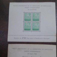 Sellos: ESPAÑA - BARCELONA - 1942 - EDIFIL 38/39 - MH* - NUEVAS.. Lote 232458405
