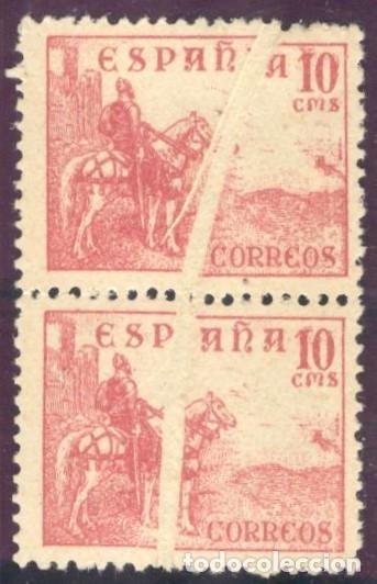 CID - 917IW PAREJA VERTICAL CON GRAN FUELLE - 10 CENTIMOS ROSA (Sellos - España - Estado Español - De 1.936 a 1.949 - Nuevos)
