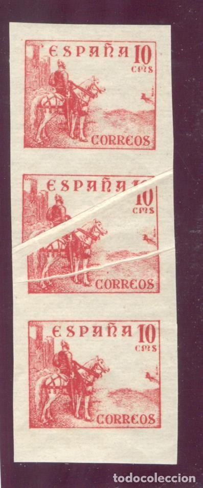 CID - 917S TRÍO VERTICAL, SIN DENTAR, CON FUELLES - 10 CENTIMOS ROSA (Sellos - España - Estado Español - De 1.936 a 1.949 - Nuevos)
