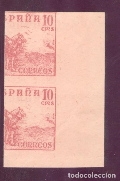 Sellos: CID - 917s pareja vertical, sin dentar, maculatura con impresión al reverso - 10 CENTIMOS rosa - Foto 2 - 232961230