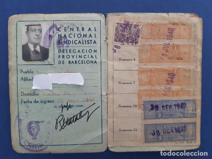 CARNET CNS CENTRAL NACIONAL SINDICALISTA. 1940. CON TRES TIPOS DE SELLOS DIFERENTES. (Sellos - España - Estado Español - De 1.936 a 1.949 - Usados)