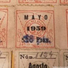 Sellos: BADAJOZ. AMIGOS DEL GUADIANA. CARNET SOCIO, CON 12 CUOTAS 1959, DISTINTOS MODELOS Y REMARCADOS. Lote 233197660