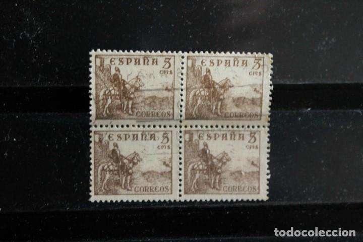 EDIFIL 1044 EN BLOQUE DE CUATRO USADO. EL SELLO SUPERIOR DERECHO LA LINEA HORIZONTAL DEL 5 MÁS LARGA (Sellos - España - Estado Español - De 1.936 a 1.949 - Usados)