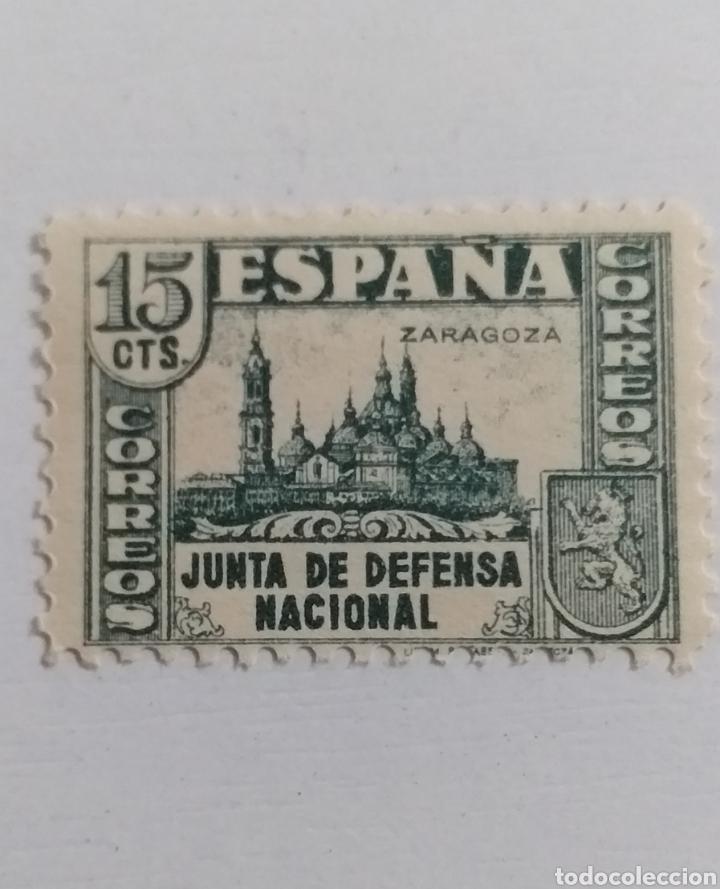 SELLO 15 CENTIMOS JUNTA DE DEFENSA NACIONAL ZARAGOZA (Sellos - España - Estado Español - De 1.936 a 1.949 - Nuevos)