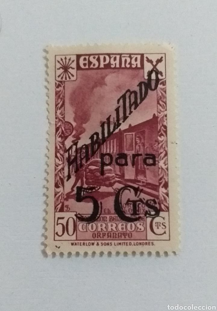 SELLO 50 CENTIMOS HABILITADO 5 CÉNTIMOS (Sellos - España - Estado Español - De 1.936 a 1.949 - Nuevos)