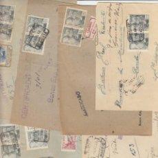 Sellos: CURIOSO LOTE DE 20 FRONTALES CON MARCA 'BENEFICA CORREOS 0'10' EN DIVERSOS FORMATOS DE 1943.. Lote 234531140