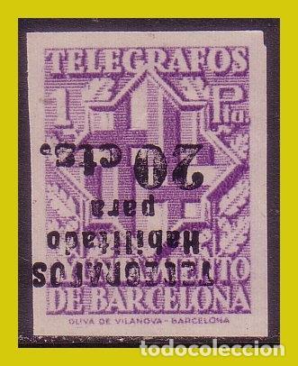 BARCELONA TELÉGRAFOS 1942, EDIFIL Nº 20SHI (*) VARIEDAD (Sellos - España - Estado Español - De 1.936 a 1.949 - Nuevos)