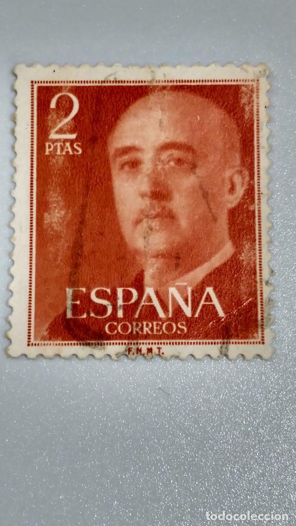 SELLO ESPAÑA 1157.2 PESETAS ROJO. 1955-56. USADO. (Sellos - España - Estado Español - De 1.936 a 1.949 - Usados)
