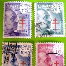Sellos: ESPAÑA. AÑOS 1940, EDIFIL 936/39 US. ''PRO-TUBERCULOSOS''./ (VER FOTO).. Lote 236273935