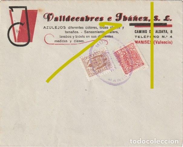 SOLO SOBRE SIN CARTA - VALLDECABRES E IBAÑEZ AZULEJOS CAMINO DE ALDAYA 8 MANISES VALENCIA - R-11 (Sellos - España - Estado Español - De 1.936 a 1.949 - Cartas)