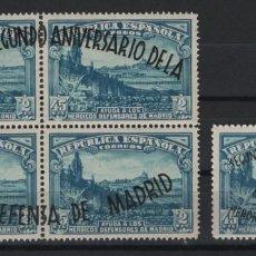 Sellos: R12/ ESPAÑA 1938, EDIFIL 789/90 MNH**, (SIN FIJASELLOS), DEFENSA DE MADRID. Lote 237324685