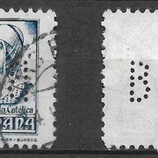Sellos: ESPAÑA 1937 EDIFIL 825 PERFORADO B.H.A - 19/20. Lote 237423570