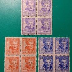 Sellos: ESPAÑA. 1942. EDIFIL 954/956**. BLOQUE DE 4.. Lote 240550040