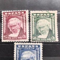 Francobolli: EDIFIL 1005 1007 MNH ** SERIE COMPLETA SELLOS NUEVOS ESPAÑA 1946 II CENTENARIO NACIMIENTO GOYA. Lote 235574310