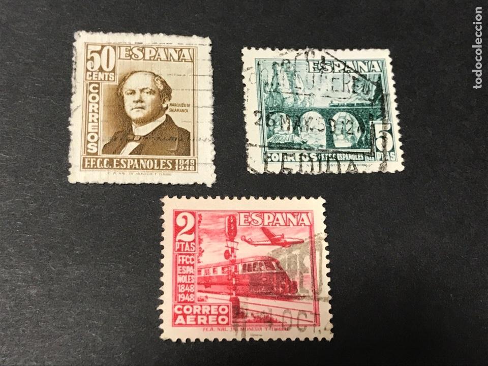 EDIFIL 1037 1039 CENTENARIO FERROCARRIL, USADOS (Sellos - España - Estado Español - De 1.936 a 1.949 - Usados)