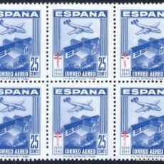 Sellos: EDIFIL 1043 PRO TUBERCULOSOS 1948 (BLOQUE DE 6) (VARIEDAD 1043ID...CRUZ DE LORENA). MNH **. Lote 242265710