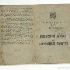 Sellos: CARNET AUTORIZACION NACIONAL ACAMPAMENTO TURISTICO 1957 CON 2 SELLOS MUTUALIDAD FUNCIONARIOS 5 PTS. Lote 242467365