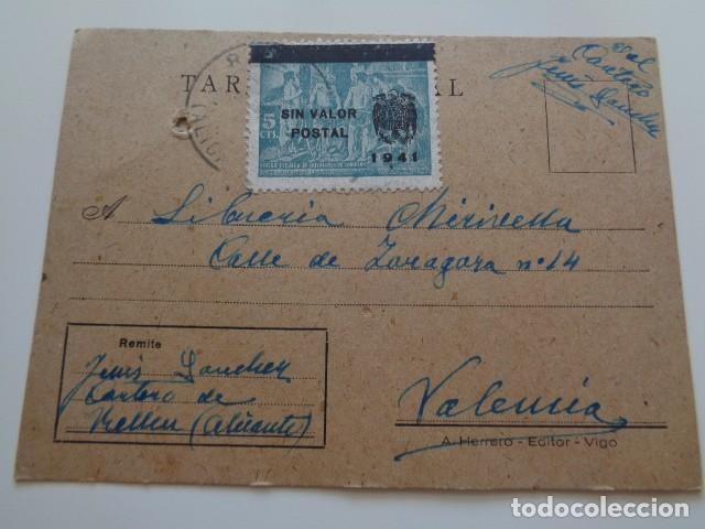 RELLEU. ALICANTE, POSTAL REMITIDA POR EL CARTERO DEL PUEBLO A VALENCIA. 1942 (Sellos - España - Estado Español - De 1.936 a 1.949 - Usados)