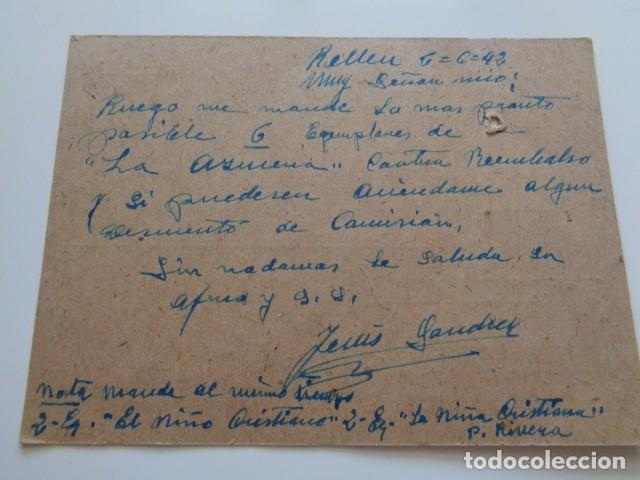 Sellos: RELLEU. ALICANTE, POSTAL REMITIDA POR EL CARTERO DEL PUEBLO A VALENCIA. 1942 - Foto 2 - 243760515