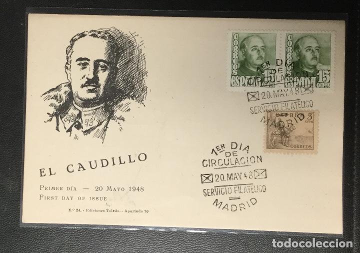 POSTAL PRIMER DÍA DE CIRCULACIÓN , EL CAUDILLO , 1948 , FRANCO (Sellos - España - Estado Español - De 1.936 a 1.949 - Cartas)