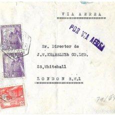 Sellos: 1947 CARTA SOBRE ESTADO ESPAÑOL. ZARAGOZA A GRAN BRETAÑA. CORREO AÉREO. HISTORIA POSTAL. Lote 243914675