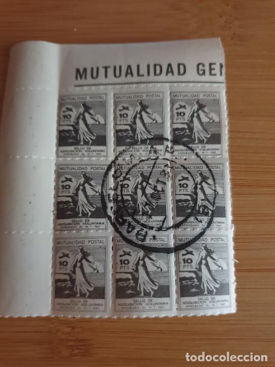 ESPAÑA MUTUALIDAD POSTAL 10 PTS AÑO 1947 BLOQUE SELLO UNICO EN TODOCOLECCION (Sellos - España - Estado Español - De 1.936 a 1.949 - Nuevos)