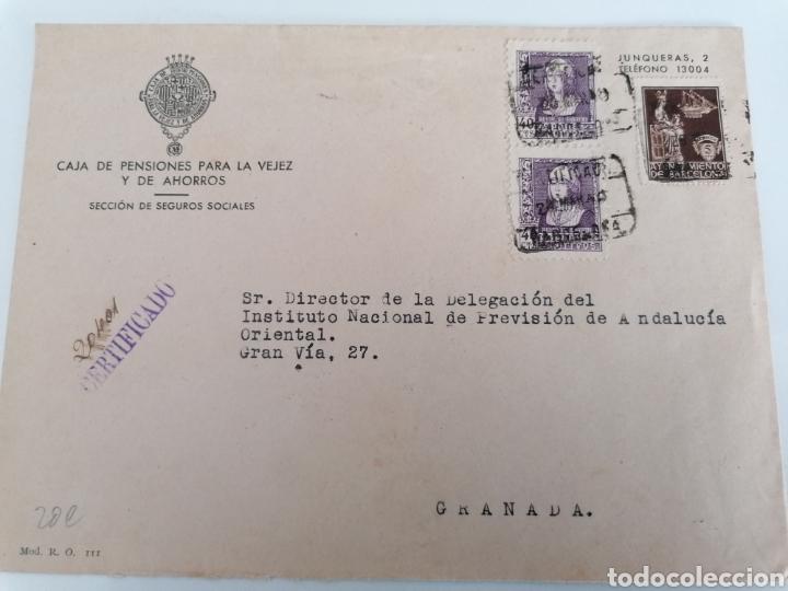 BARCELONA A GRANADA. CAJA DE PENSIONES PARA LA VEJEZ AL INSTITUTO DE ANDALUCIA ORIENTAL. 1940 (Sellos - España - Estado Español - De 1.936 a 1.949 - Cartas)