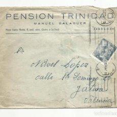 Sellos: CIRCULADA 1947 DE PENSION TRINIDAD DE ZARAGOZA A JATIVA XATIVA VALENCIA. Lote 245016975