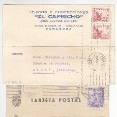 Sellos: 3 TARJETAS ZARAGOZA.MADRID Y VALENCIA A ALCOY AÑO 1945 - CALIDAD LUJO - LIQUIDACIÓN - VER DETALLE. Lote 245039330
