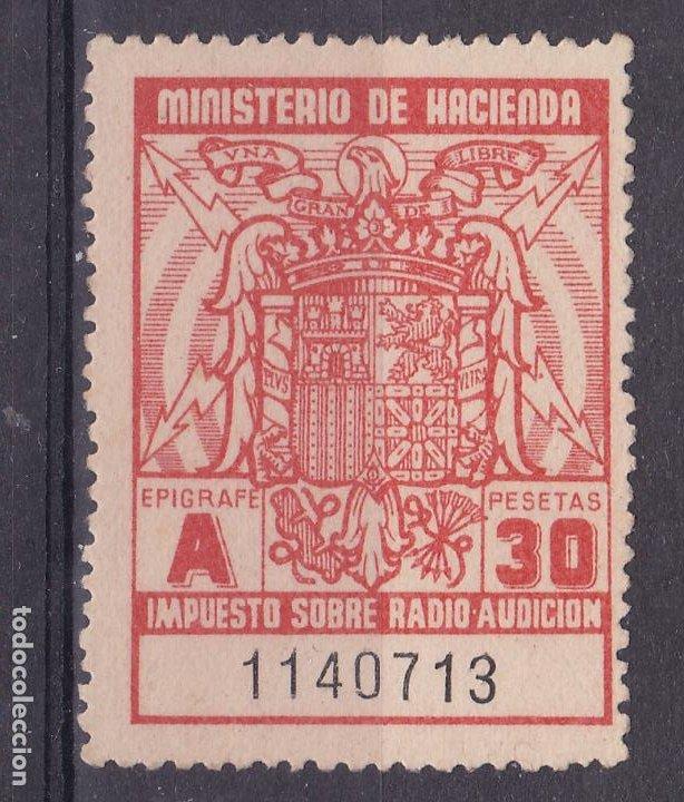 SS47- FISCALES IMPUESTO RADIO AUDICIÓN 30 PTAS ** SIN FIJASELLOS. NARANJA PAPEL CREMA (Sellos - España - Estado Español - De 1.936 a 1.949 - Nuevos)