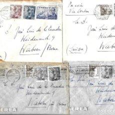 Sellos: 1946-47 LOTE 4 CARTAS BARCELONA A SUIZA CORREO AÉREO.. Lote 245404265