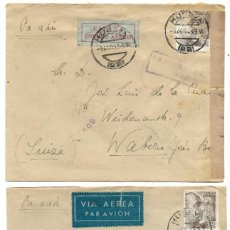 Sellos: 1946-47 LOTE 2 CARTAS HUELVA A SUIZA CORREO AÉREO.. Lote 245451755