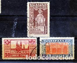 ESPAÑA.- 833/35 AÑO SANTO COMPOSTELANO. MATASELLADA. (Sellos - España - Estado Español - De 1.936 a 1.949 - Usados)