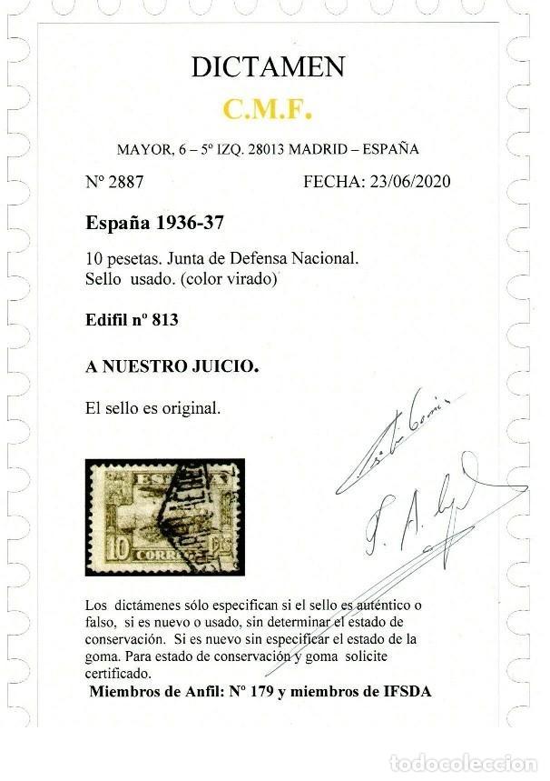 Sellos: EDIFIL 813 CAMBIO DE COLOR. RARÍSIMO EJEMPLAR.USADO. MUY BUEN ESTADO CERTIFICADO C.M.F. COLOR VIRADO - Foto 3 - 246009030